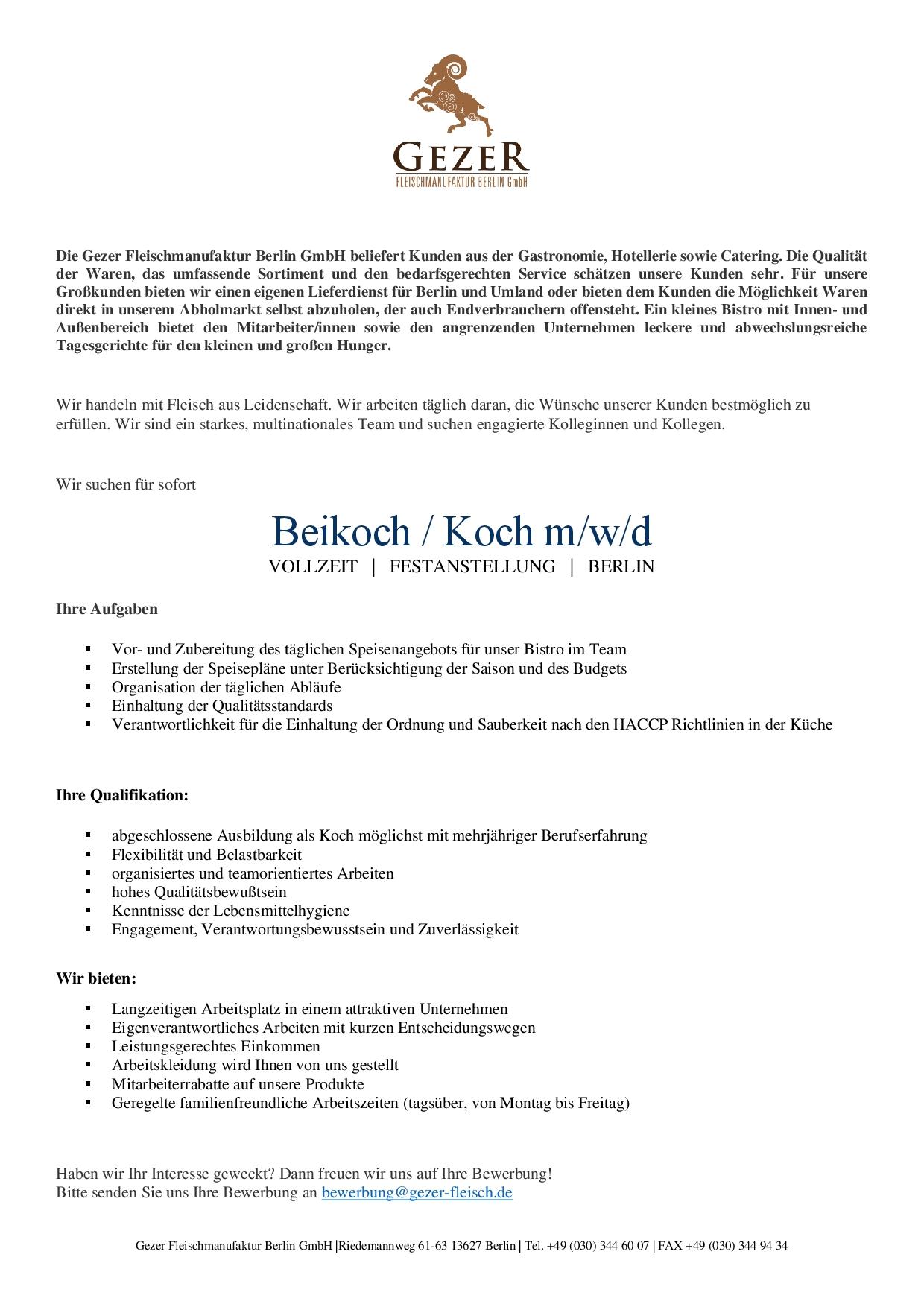 Ausschreibung Beikoch _ Koch